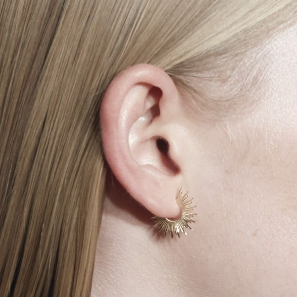 Nimbus Statement Earring. 9kt Yellow Gold with Halo detail.