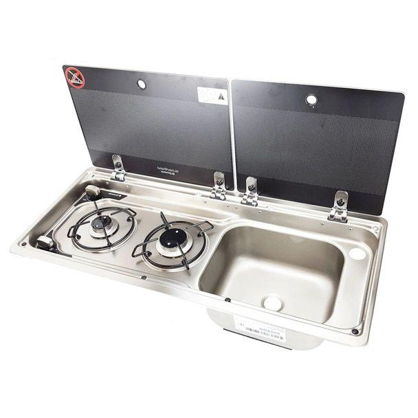 Dometic Uk Mo9722rus Slim 2 Burner Hob Sink Combination With Glass Lids Sink Cooktop Wellness Design