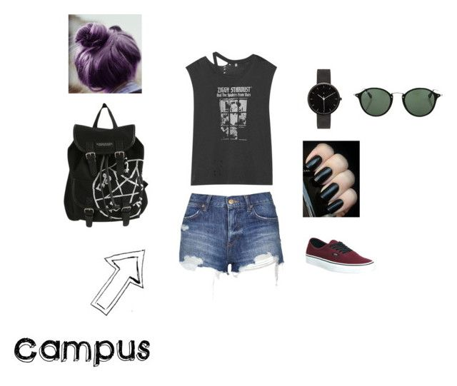 """Campus outfit"" by danicarae on Polyvore featuring Topshop, R13, Vans, I Love Ugly, Ray-Ban, women's clothing, women, female, woman and misses"