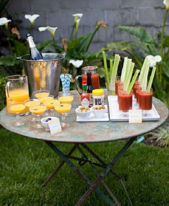 Mimosa  Bloody Mary Bar More fruit for mimosas and more veggies + shrimp and spicy green beans/okra for bloodys!