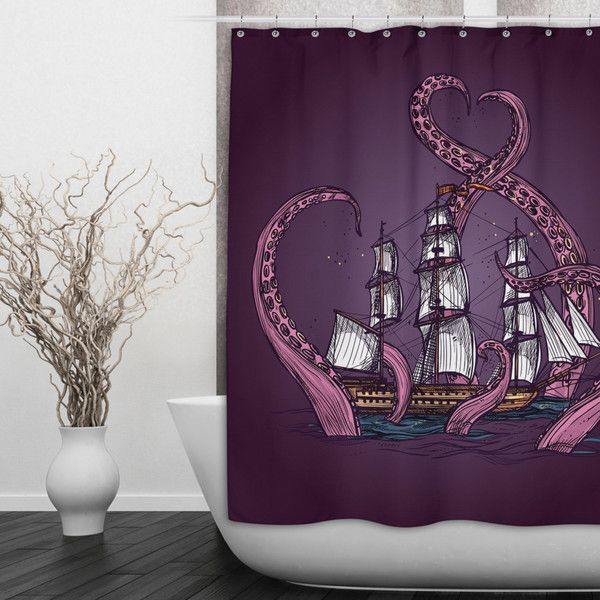 Kraken Ship Octopus Shower Curtain Beautiful Purple With Octopus... (91 CAD) ❤ liked on Polyvore featuring home, bed & bath, bath, shower curtains, bathroom, grey, home & living, shower curtains & rings, grey shower curtains and striped shower curtains