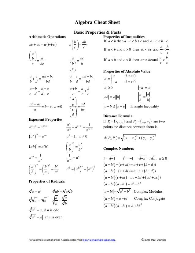 Algebra Cheat Sheet Basic Properties & Facts Arithmetic Operations  Properties of Inequalities If a < b then a + c < b + c...