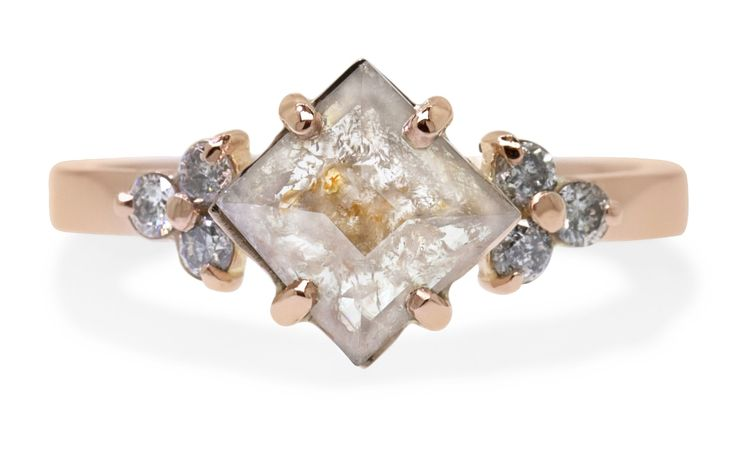 1.20 Carat Gray with Peach Diamond Ring in Rose Gold
