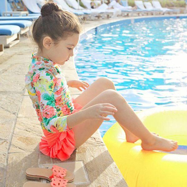 MS61883C children girl fashion swimwear long sleeve kids swimsuit - from Alibaba.com