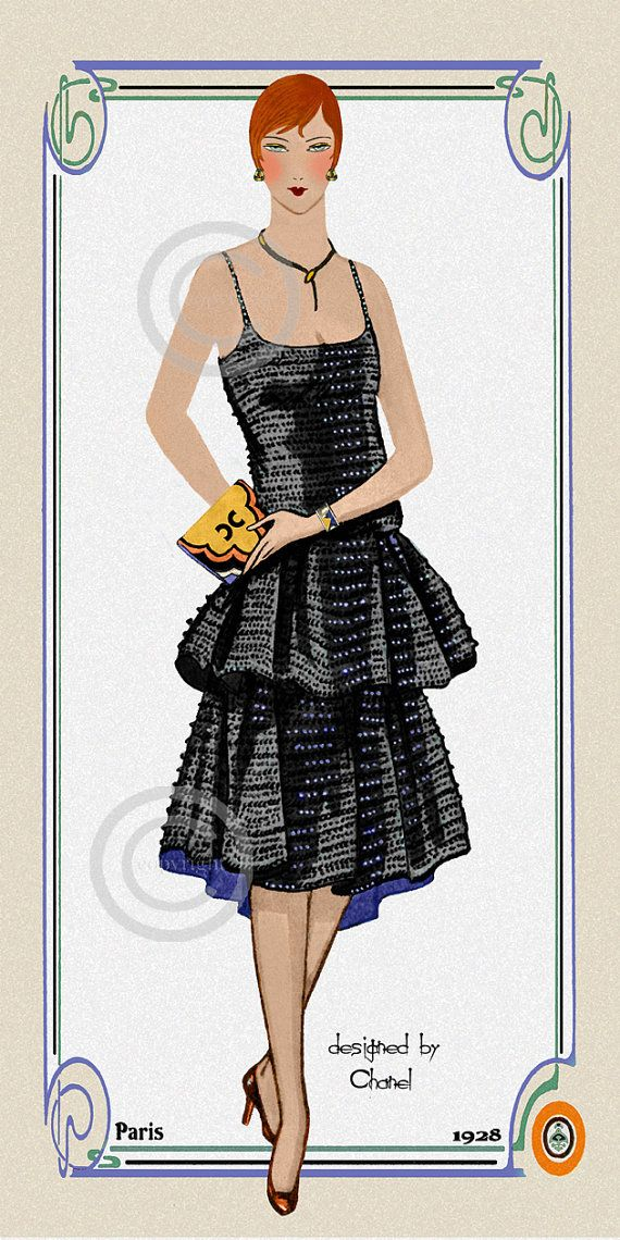 Art Deco Paris Fashion Print  Flapper style door DragonflyMeadowsArt