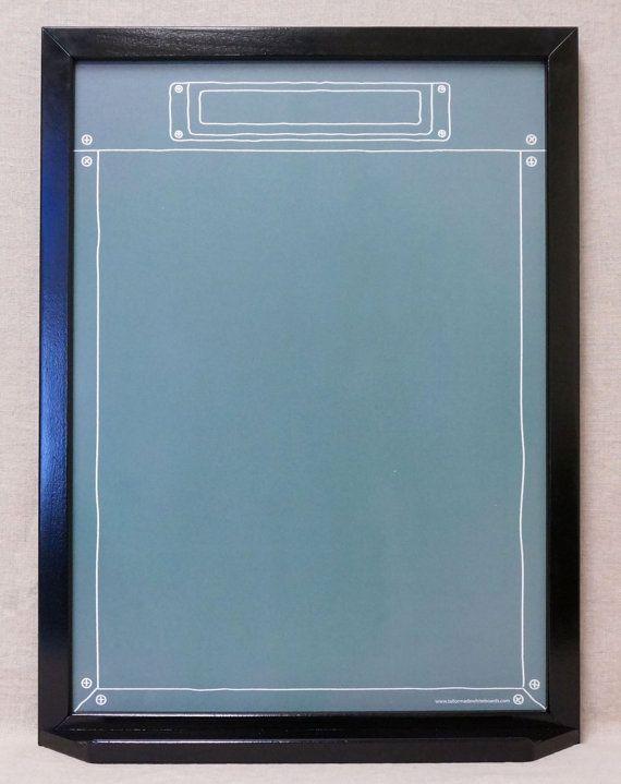 """Green """"Industrial Chalkboard"""" Custom Whiteboard Message Board - Framed Dry Erase Note Board - Family Command Center White Board - Memo Board"""