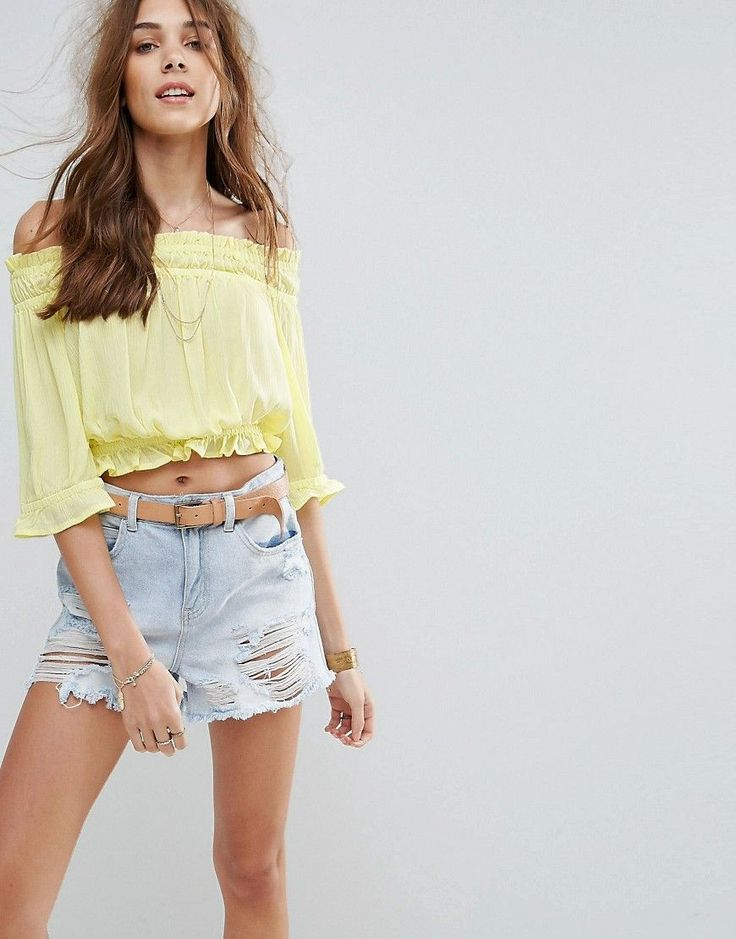 Buy it now. New Look Shirred Bardot Crop Top - Yellow. Top by New Look, Lightweight crinkled cheesecloth fabric, Shirred Bardot neck, Frill trims, Crop cut, Regular fit - true to size, Machine wash, 100% Viscose, Our model wears a UK 8/EU 36/US 4 and is 169cm/5'6.5 tall. Transforming the coolest looks straight from the catwalk into wardrobe staples, New Look joins the ASOS round up of great British high street brands. Get it or regret it with its weekly drops of essential coats, statement…