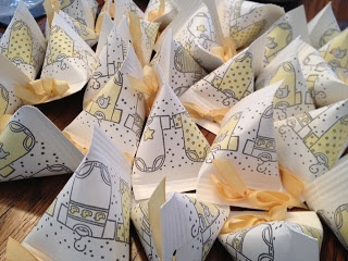 Onesie baby shower favors - Stampin Up Tiny Tees stampin wheel  - sour cream containers.