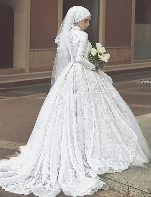 080c07351c5 Long Sleeve Muslim Lace Appliques Vintage Wedding Dress A Line in ...