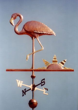 The Flamingo Weather Vane is handmade w/ a copper body, gold leafed beak & legs & an optional nickel silver wing accent. Custom metals & design available.
