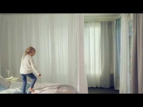 Hang curtains with curtain tracks inspiration video...So want to get this!