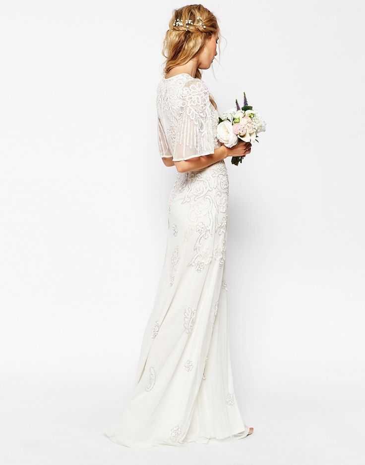 Superb ASOS BRIDAL Iridescent Flutter Sleeve Maxi Dress