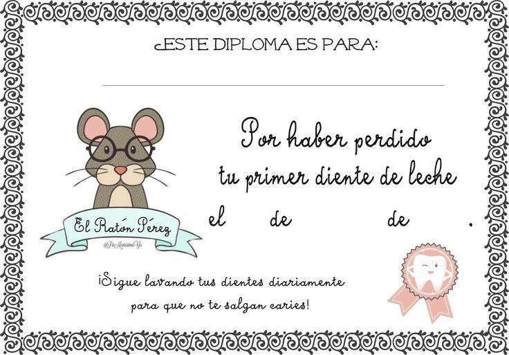 Certificado caída primer diente de leche Ratón Pérez monerias pamonisimayo
