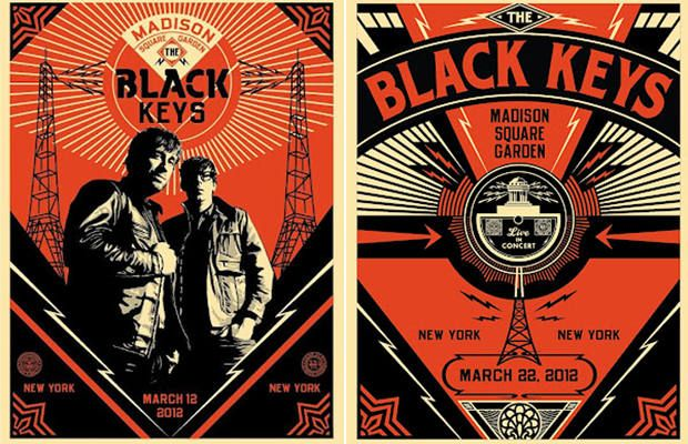 Concert posters for The Black Keys' NYC tour, designed by OBEY's Shepard, 2012 | Russian Constructivism and Graphic Design - CreativePro.com
