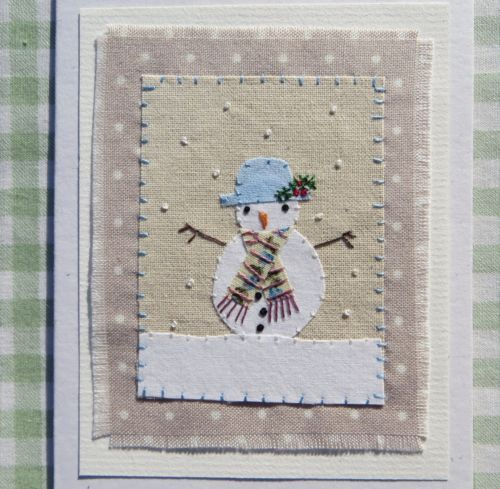 LITTLE-SNOWMAN-hand-stitched-card-designed-and-made-by-UK-artist-Helen-Drewett