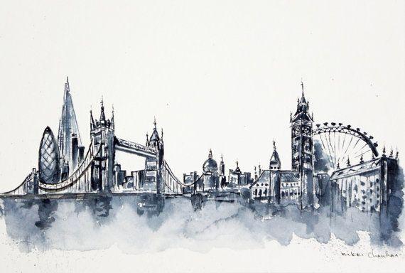 London Skyline Painting Original Watercolor by NiksPaintGallery