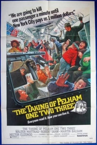 "TAKING of PELHAM ONE TWO THREE Original US 1 sheet Movie Poster. Year: 1974 Size 27""x41"" Condition: Folded - Excellent Directed by: Joseph Sargent Cast: Walter Matthau, Robert Shaw - Mr. Blue, Martin Balsam - Mr. Green, Hector Elizondo - Mr. Gray, Earl Hindman - Mr. Brown Genre: Crime, Drama, Thriller  TAKING of PELHAM ONE TWO THREE   £85.00"