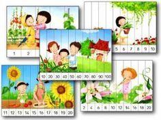 Voici 40 puzzles numériques à imprimer. Il y a 5 versions de chaque puzzle :numérotés de 1 à 5, de 1 à 10, de 11 à 20, de 2 en 2 ou de 10 en 10. Vous pouvez trouver d'autres puzzles numériques sur Le jardin d'Alysse, La classe de Laurène, et Lilipomme pa