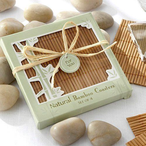 Eco-friendly Natural Bamboo Coaster Favors by Beau-coup