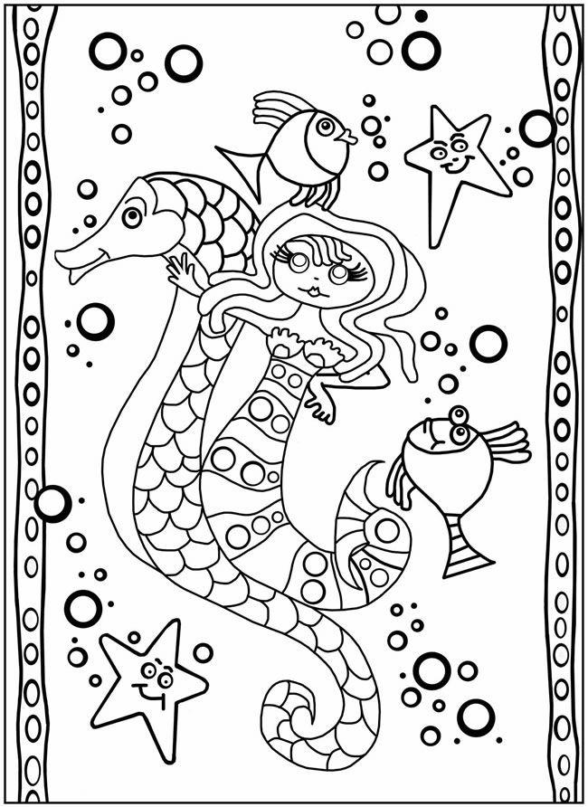 zeemeermin met zeepaardje kleurplaten en mandala s