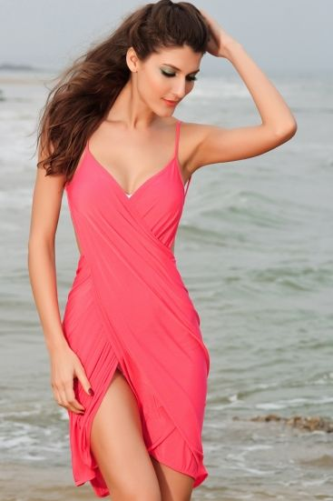 Criss-cross front beach coral color cover-up - omdear.com