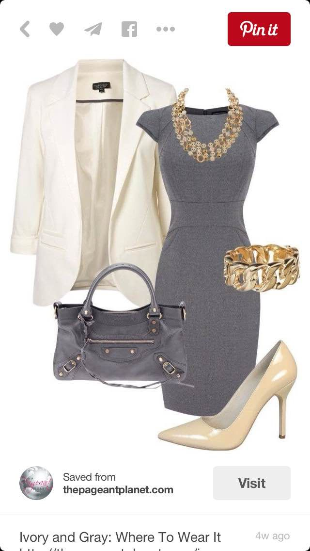 mmmmm gray and cream, so classic. that dress is so cute.