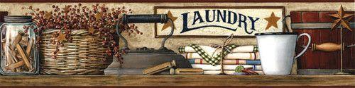 Primitive Country Laundry Wallpaper Border Laundry Room | eBay