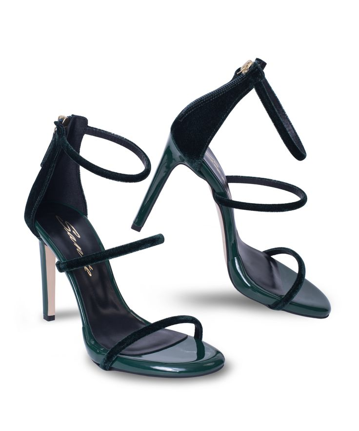 SANTE strappy stiletto sandal and the velvet elegance is on!