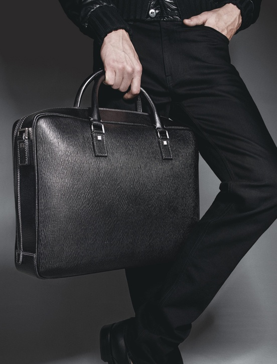 Simple, black briefcase by Salvatore Ferragamo.