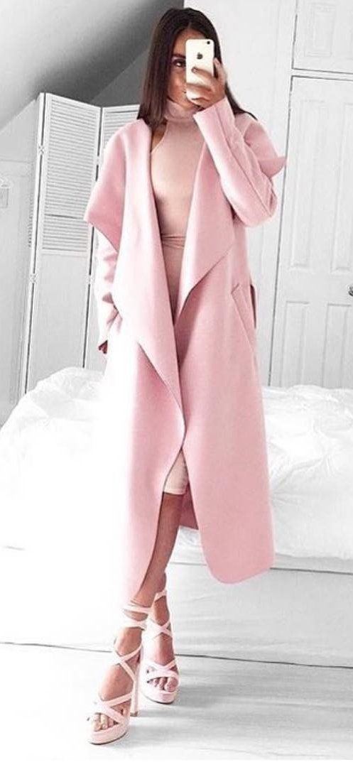 #winter #fashion /  Pink Coat + Light Pink Sandals