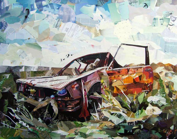 Pintura feita com retalhos de jornal  Painting made of newspapper streeps