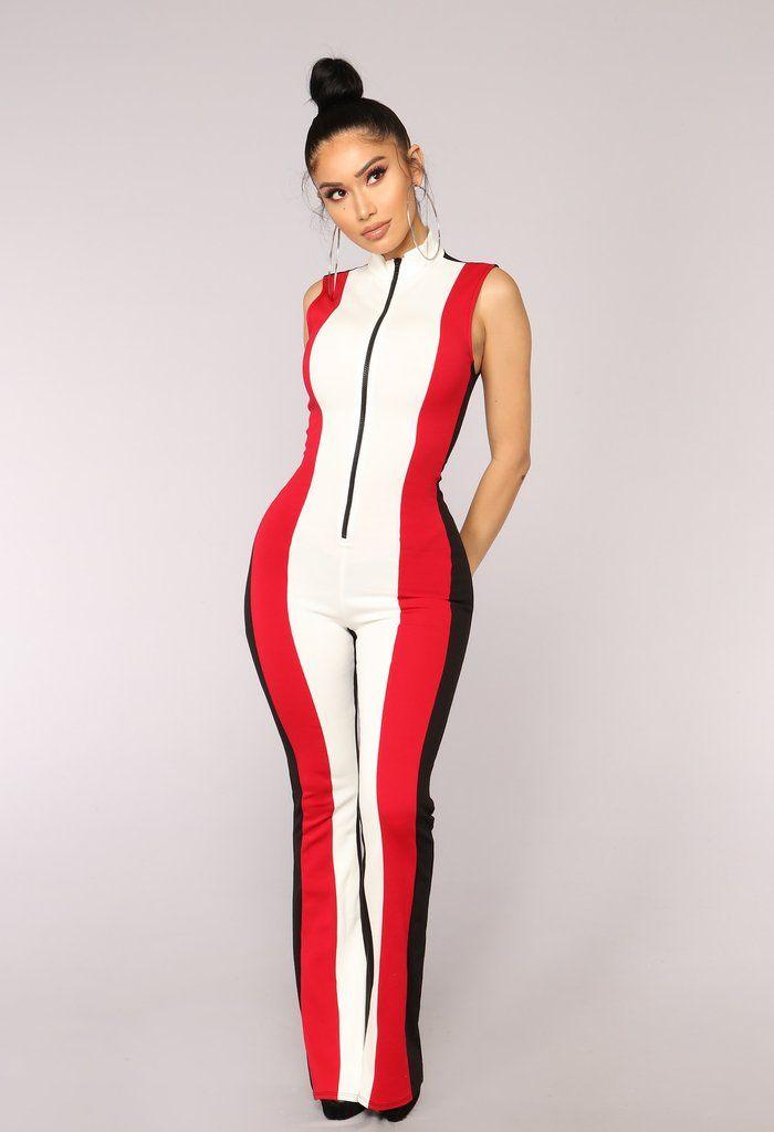 867dd18873d Push To Start Colorblock Jumpsuit - Black Red