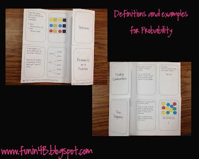 probability foldable: Grade Math, Room 4B, 6Th Grade, Teaching Math, School Stuff, Foldable Freebie, Probablility Foldable, Education
