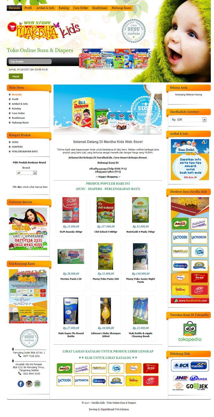 MardhaKids. Website Toko Online Susu & Diapers. Didesain elegan untuk menampilkan produk dan memberi kemudahan mencari produk sesuai kategori.