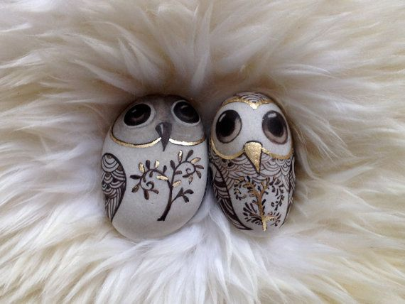 OOAK ORIGINAL hand painted, hand gilded beach stone  TWO OWLS