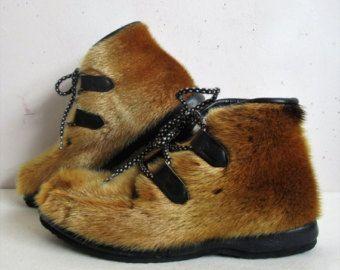 60s Apres Ski FUR BOOTS / Goat Hair & Fox por luckyvintageseattle