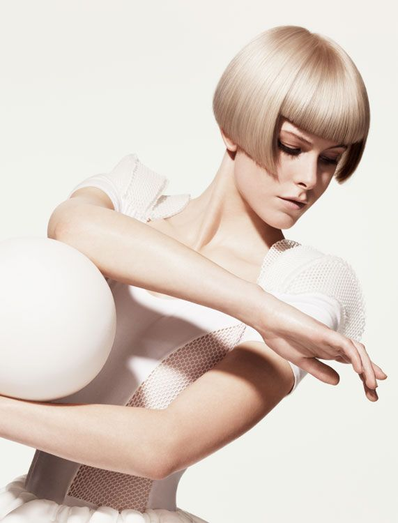 I love this shade of blonde with this cut.    Athletica Collection Hair: Sassoon International Creative Team  Photography: Jonathan Akehurst    Make-up: Petros Petrohilos   Products and tools: Wella Professionals hair color