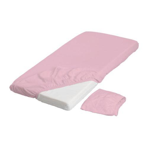 LEN Crib fitted sheet - pink - IKEA