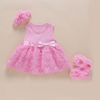 Bebé de 1 año de cumpleaños vestido de fiesta rosa Del nudo Del Arco  encanto hermoso bebé lindo vestido de princesa de la flor cordón neto del  bebé vestidos b310a336d8fb