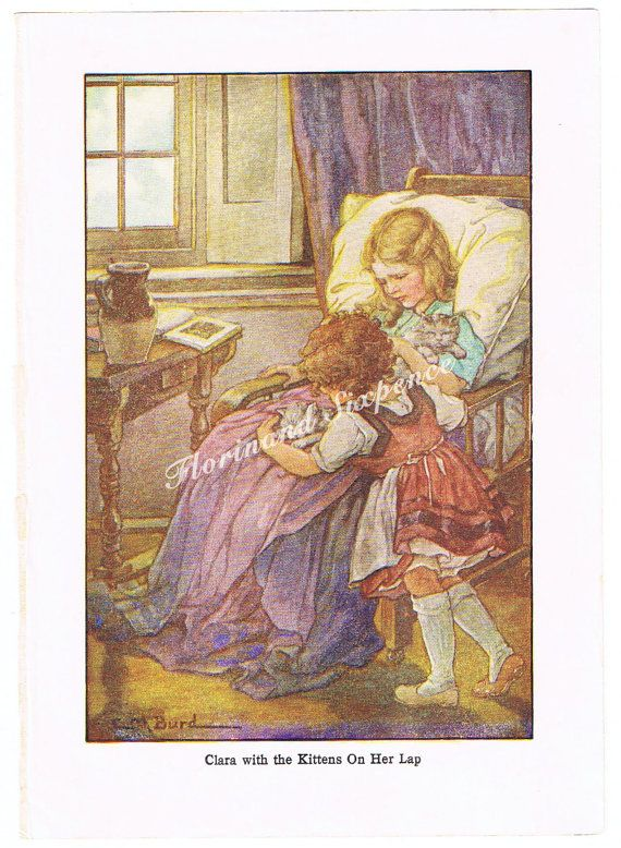 Heidi Clara Kittens colour plate childrens by Florinandsixpence
