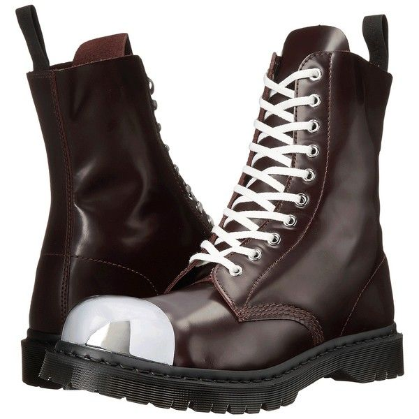 Dr. Martens Grasp External Fashion Steel Toe Cap Boot Lace-up Boots,... (£64) ❤ liked on Polyvore featuring shoes, boots, black, long leather boots, black boots, lace up work boots, leather lace up boots and black leather cap