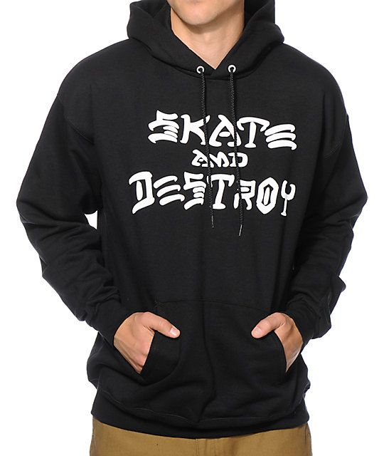 "Get the iconic look that started it all with the white ""Skate And Destroy"" text chest graphic and a fleece lining for comfort."