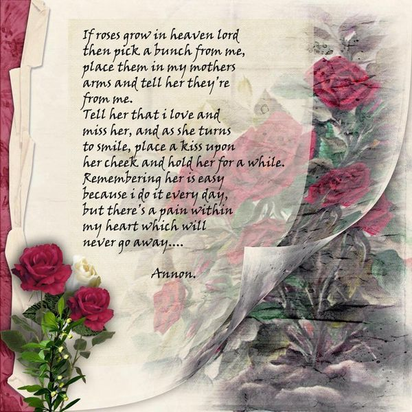 Mothers Day In Heaven Poem | that is such a lovely poem. I cried when I read it. Thank you for ...