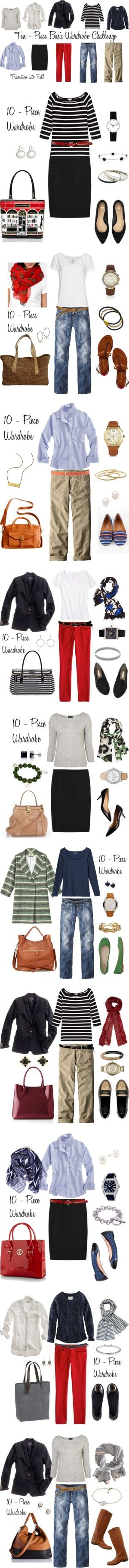 """Looks from the 10 - Piece Wardrobe Challenge"" by bluehydrangea ❤ liked on Polyvore"