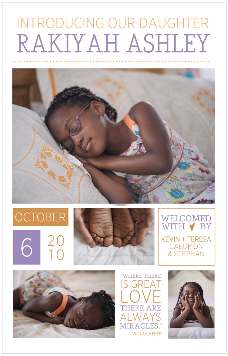 Another good older child announcement. Hate the newborn eyes-closed thing, but cute layout.