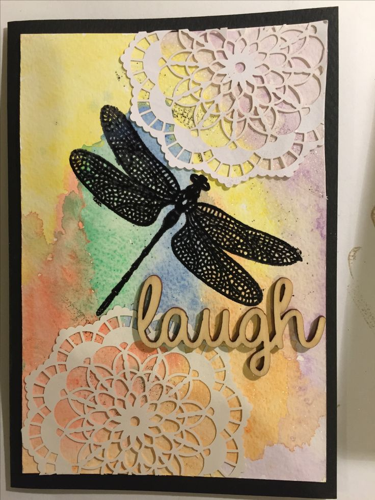 Black embossing with water colour Dragonfly Dreams