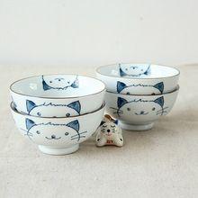Kawashima het huis japanse edo stijl handgeschilderde keramische kom rijstkom grappig japanse lucky kat kom bestek sets(China (Mainland))