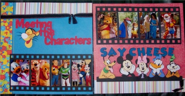 Disney Character Scrapbook double layout #The ScrapoholicCricut Scrapbook, Character Scrapbook, Scrapbook Disney, Disney Scrapbook Pages, Scrapbook Ideas For Kids, Disney Layout, Disney Scrapbook Layouts, Disney Character, Scrapbooking Disney
