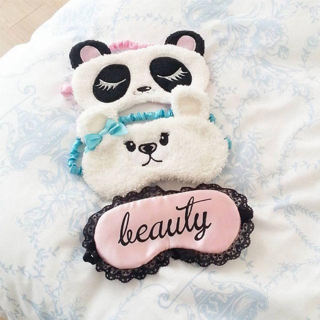 Antifaz para dormir de osos panda con encaje
