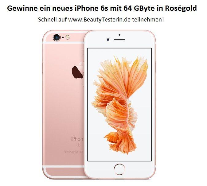 Gewinne ein iPhone 6s mit 64 GByte in Roségold bei Der-Beauty-Blog.de! Teilt dieses Gewinnspiel auf Facebook, Instagram, Twitter oder Pinterest mit dem Hashtag  #iphone6s & #Gewinnspiel  Wie Ihr gewinnen